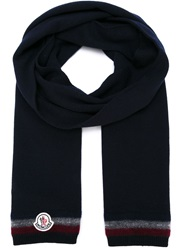 Moncler Striped Trim Knit Scarf Blue
