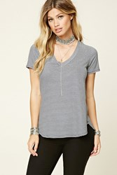 Forever 21 Striped Heathered Knit Tee Navy White