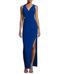 Laundry By Shelli Segal Sleeveless Faux Wrap Embellished Gown Blue Beret