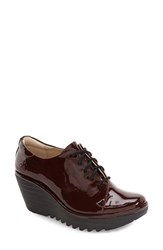 Fly London Women's 'Yumi' Lace Up Platform Wedge Burgundy Patent Leather
