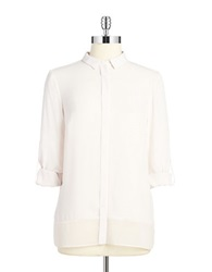 T Tahari Button Front Blouse Ballet