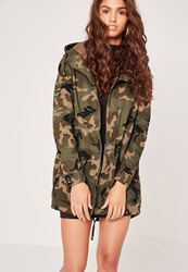 Missguided Camo Military Parka Jacket Beige