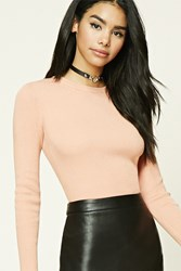 Forever 21 Ribbed Knit Sweater Peach