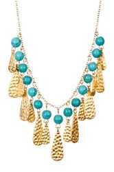 Felix And Lola 18K Gold Plated Sterling Silver Turquoise And Hammered Teardrop Dangle Bib Necklace Blue