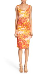 Women's Tracy Reese Print Stretch Silk Sheath Dress Scattered Petals