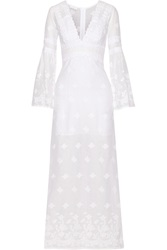 Miguelina Fiona Embroidered Cotton Voile Maxi Dress