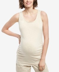 Motherhood Maternity Ruched Tank Top Oatmeal