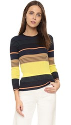 Apiece Apart Zia Striped Knit Top Midnight Stripe