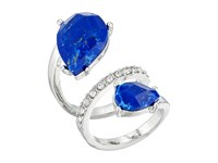 Guess Double Pear Shape Stone Bypass Ring Silver Crystal Lapis Ring Blue