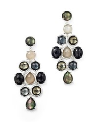Ippolita Sterling Silver Rock Candy Mixed Prong And Bezel Cascade Earrings In Black Tie Multi Silver