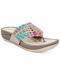 Bare Traps Denna Stretch Thong Sandals Women's Shoes Grey Multi