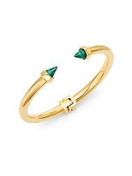 Vita Fede Mini Luciano Malachite Spike Bangle Bracelet Goldtone