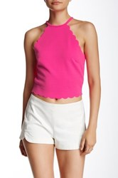 Hip Scalloped Crop Top Pink