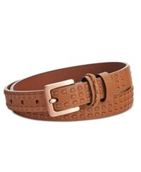 Calvin Klein Jeans Woven Strip Double Keeper Belt Whiskey Brushed Copper