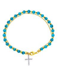 Lord And Taylor Cross Charm Beaded Bracelet Turquoise