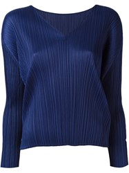 Issey Miyake Pleats Please By Pleated V Neck Blouse Blue