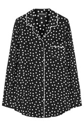 Dolce And Gabbana Polka Dot Silk Crepe De Chine Pajama Top Black