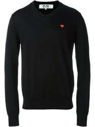 Comme Des Gara Ons Play Embroidered Red Heart Sweater Black