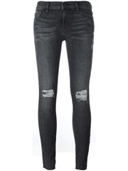 Frame Denim Ripped Skinny Jeans Grey