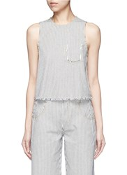 Alexander Wang Frayed Stripe Denim Tank Top Multi Colour