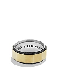 David Yurman Faceted Metal Band Ring With Black Diamonds And 18K Gold Gold Black