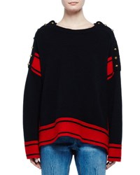 Alexander Mcqueen Military Striped Cashmere Sweater W Buttons Black Red