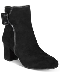 White Mountain Callaway Block Heel Booties Women's Shoes Black