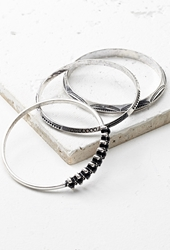 Forever 21 Etched Faux Stone Bangle Set B.Silver Black