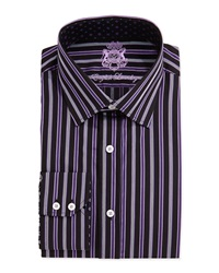 English Laundry Long Sleeve Ribbon Stripe Dress Shirt Black Purple