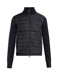 Moncler Zip Up Wool Blend Quilted Down Jacket Navy