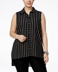 Monteau Trendy Plus Size Striped Blouse Black White