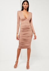 Missguided Nude Ruched Plunge Neck Midi Dress Mauve