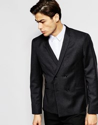 Hart Hollywood By Nick Hart 100 Wool Double Breasted Wool Blazer In Slim Fit Grey