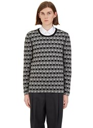Lanvin Geometric Jacquard Crew Neck Sweater Grey