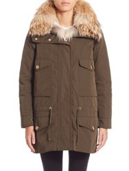 Moncler Margarita Fur Trimmed Jacket And Fur Vest Olive