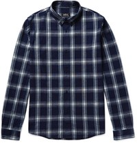 A.P.C. Button Down Collar Checked Cotton Shirt Navy
