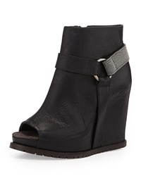 Monili Halter Wedge Bootie Black Brunello Cucinelli