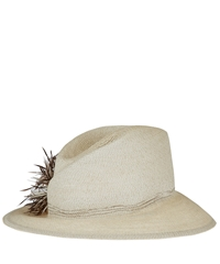 Swanepoel Cream Saratoga Asymmetric Feather Hat