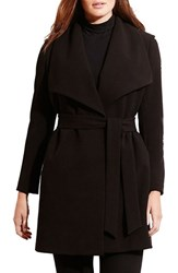 Lauren Ralph Lauren Plus Size Women's Belted Drape Front Coat Black