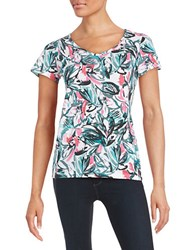 Lord And Taylor Petite Floral Knit Tee Zinnia