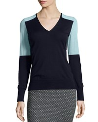 Todd And Duncan Cashmere Colorblock Sweater Sea Blue Navy