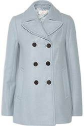 Tory Burch Double Breasted Wool Blend Peacoat Light Blue