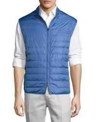 Luciano Barbera Quilted Tech Puffer Vest Blue
