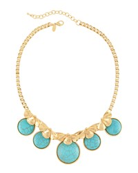 Emily And Ashley Greenbeads By Emily And Ashley Golden Turquoise And Floral Statement Collar Necklace Women's
