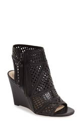 Vince Camuto Women's 'Xabrina' Perforated Wedge Sandal Black Leather