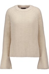 Maje Ribbed Knit Sweater Ecru