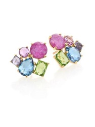 Ippolita Rock Candy Fall Rainbow Semi Precious Multi Stone And 18K Yellow Gold Cluster Earrings Gold Multi