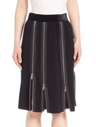 Ms. Min Accordion Pleated Zipper Skirt Black