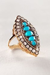 Anthropologie Turquoise And Diamond Marchioness Ring In 14K Rose Gold