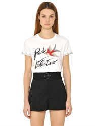 Red Valentino Printed Cotton Jersey T Shirt W Tulle